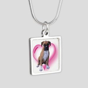 Heart Boxer Puppy Silver Square Necklace