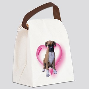 Heart Boxer Puppy Canvas Lunch Bag