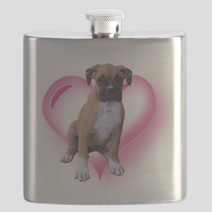 Heart Boxer Puppy Flask