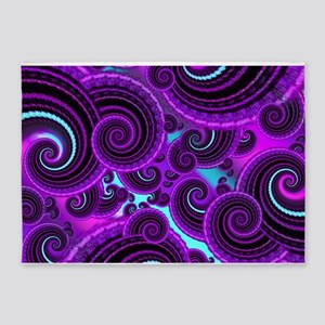 Funky Purple Swirl Fractal Art Pattern 5'x7'Area R