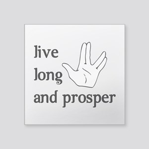 "Live Long and Prosper Square Sticker 3"" x 3"""
