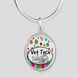 Vet Tech Tote 2 Silver Oval Necklace