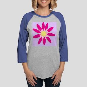Fuchsia Pink Flower Womens Baseball Tee