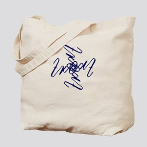 Trent Ambigram- Large Navy Blue Tote Bag
