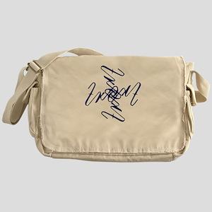 Trent Ambigram- Large Navy Blue Messenger Bag