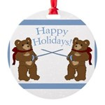 Happy Holidays Fencing Bears Round Ornament