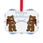 Happy Holidays Fencing Bears Picture Ornament