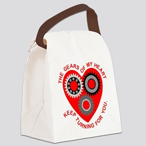 Valentine Heart Gears Canvas Lunch Bag