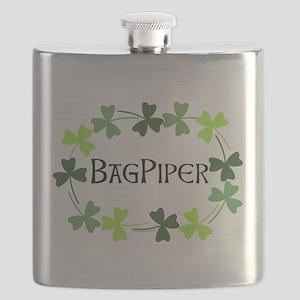 Bagpipe Shamrock Oval Flask