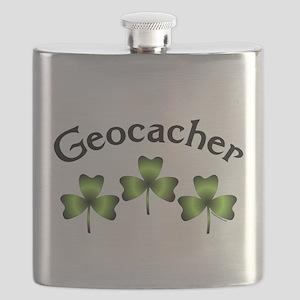Geocacher 3 Shamrocks Flask