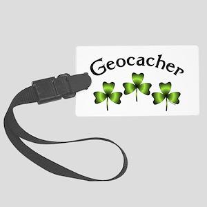 Geocacher 3 Shamrocks Large Luggage Tag