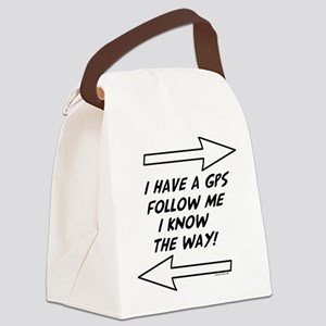 SLfollowBLKArrGray Canvas Lunch Bag