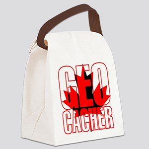 CanFlagRdBlkGeo Canvas Lunch Bag