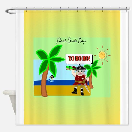 Pirate Santa yo ho ho Shower Curtain