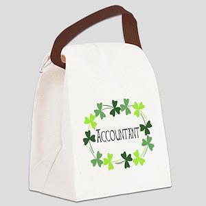 Accountant Shamrock Oval Canvas Lunch Bag