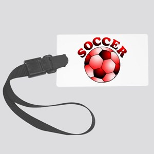 Red Soccer Large Luggage Tag