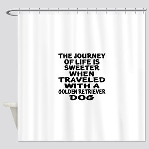 Traveled With Golden Retriever Dog Shower Curtain