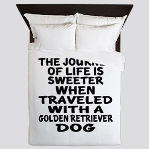 Traveled With Golden Retriever Dog Des Queen Duvet