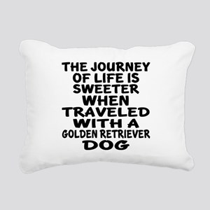 Traveled With Golden Ret Rectangular Canvas Pillow