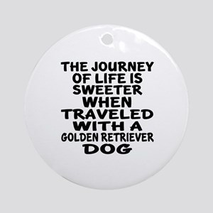 Traveled With Golden Retriever Dog Round Ornament