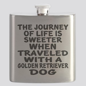 Traveled With Golden Retriever Dog Designs Flask