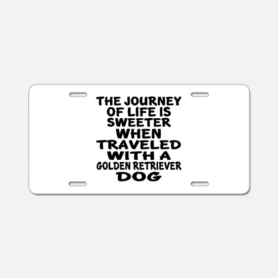 Traveled With Golden Retrie Aluminum License Plate