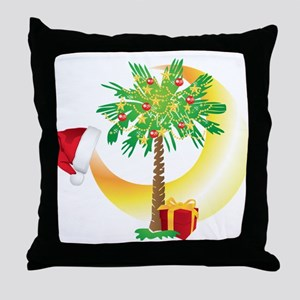 Christmas SC Palmetto Moon Flag Throw Pillow