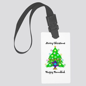 Christmas Hanukkah Interfaith Large Luggage Tag