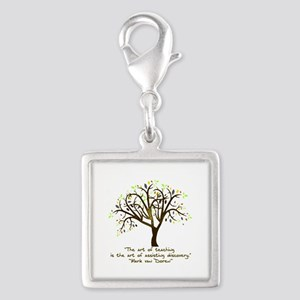 The Art Of Teaching Silver Square Charm