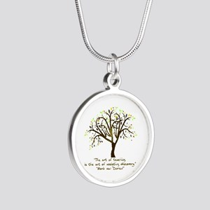 The Art Of Teaching Silver Round Necklace