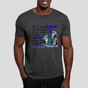 Holiday Penguins Colon Cancer Dark T-Shirt