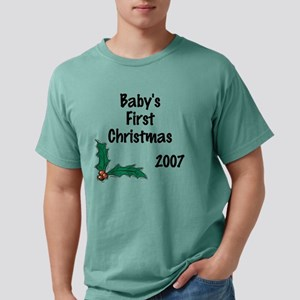 Babys First Christmas ho Mens Comfort Colors Shirt