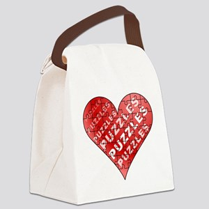 Jigsaw Puzzle Heart Canvas Lunch Bag