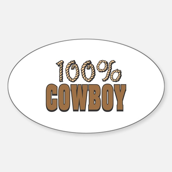 100% Cowboy Oval Decal