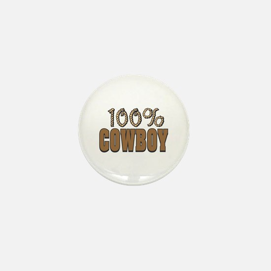 100% Cowboy Mini Button