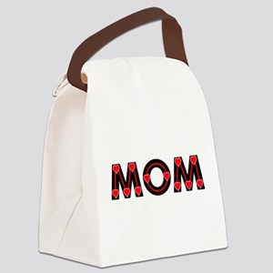 Mom Red Hearts Canvas Lunch Bag