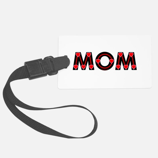Mom Red Hearts Luggage Tag
