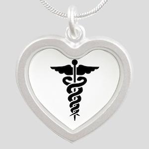 Medical Symbol Caduceus Silver Heart Necklace