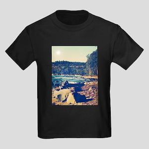 Rocky Shores of Lake Superior Kids Dark T-Shirt