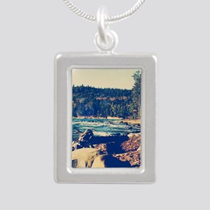 Rocky Shores of Lake Superior Silver Portrait Neck