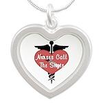 Nurses Call The Shots Silver Heart Necklace
