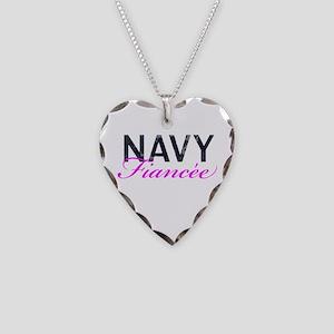 Navy Fiancee Necklace Heart Charm