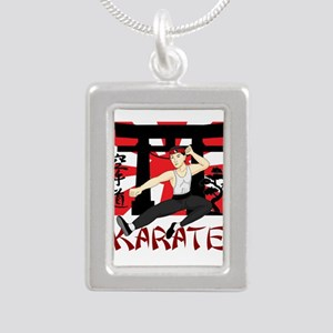 Karate Silver Portrait Necklace