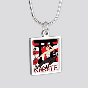 Karate Silver Square Necklace