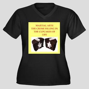 martial arts Women's Plus Size V-Neck Dark T-Shirt
