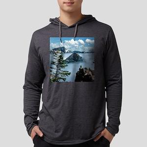 Foggy-Crater-Lake-Clock Mens Hooded Shirt