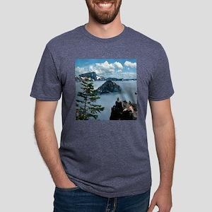 Foggy-Crater-Lake-Tile Mens Tri-blend T-Shirt