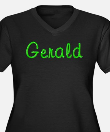 Gerald Glitter Gel Women's Plus Size V-Neck Dark T