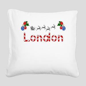 London, Christmas Square Canvas Pillow