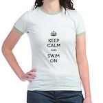 Keep Calm and Swim On Jr. Ringer T-Shirt